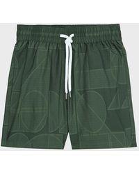 Frescobol Carioca Geo-print Jacquard Swim Shorts - Green