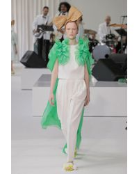 Delpozo - Pleated Front Trousers, Size Fr40, Women, White - Lyst
