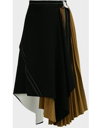 Proenza Schouler Asymmetric Pleated Crepe Midi Skirt - Black