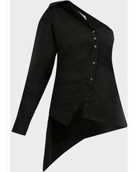 Marques'Almeida One-shoulder Deconstructed Shirt - Black