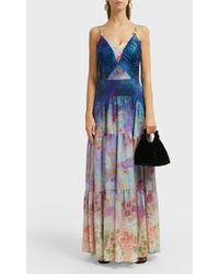 Peter Pilotto Floral-print Silk-blend Gown - Blue