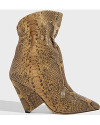 Isabel Marant Lileas Snake-effect Leather Ankle Boots - Brown