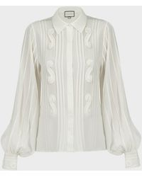 Alexis Lorne Pleated Silk Blouse - White