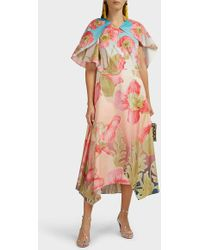 Peter Pilotto Asymmetric Floral Cotton Midi Dress - Multicolor