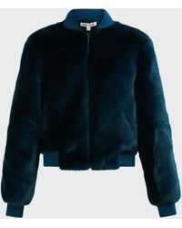 Elizabeth and James Ellington Faux Fur Bomber Jacket - Blue