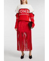 Monse Fringed Silk-satin Skirt - Red