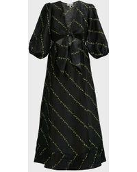 Ganni Tie-front Floral-print Linen-blend Midi Dress - Black