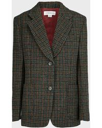 Victoria Beckham Checked Patch Pocket Wool Jacket - Multicolor