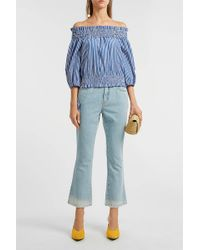 Caroline Constas Lou Off-the-shoulder Striped Cotton Top - Blue