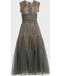 Bronx and Banco Megan Floral Midi Dress - Green