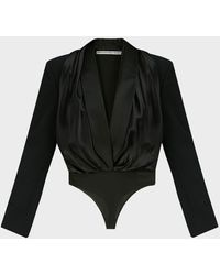 Alexander Wang Tuxedo-hybrid Wool Bodysuit - Black