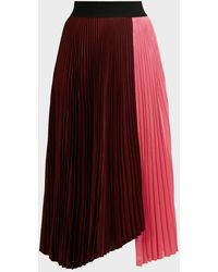 A.L.C. Grainger Two-tone Pleated Skirt - Red