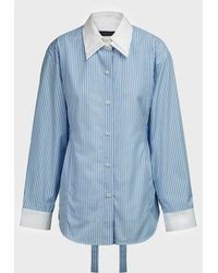 Eudon Choi Seli Stripe Double-collar Shirt - Blue