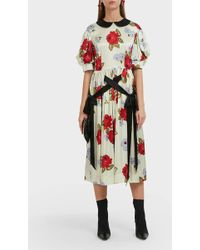 Simone Rocha Floral Print Silk Midi Dress - Multicolor