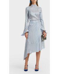 Erdem Zora Asymmetric Striped Silk Midi Skirt - Blue