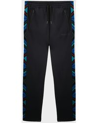Missoni Chevron-stripe Cotton-blend Sweatpants - Blue