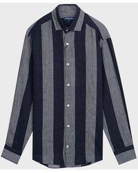 Frescobol Carioca Cabana Striped Linen Shirt - Blue