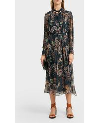 c5e74ba74f7a Isabel Marant - Dalika Printed Fil Coupé Silk Midi Dress - Lyst