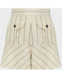 Alexis Norwood Stripe Crepe Shorts - Natural