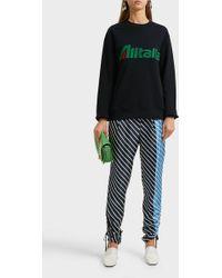 Alberta Ferretti Alitalia Appliquéd Cotton Sweatshirt - Black