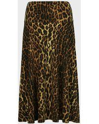 Norma Kamali Animal-print Flared Midi Skirt - Multicolour