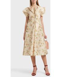 Brock Collection Dawn Printed Silk Dress - Natural