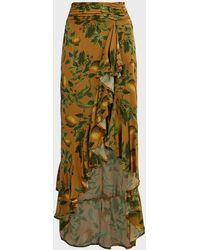 Agua Bendita Sofia Printed Asymmetric Skirt - Green
