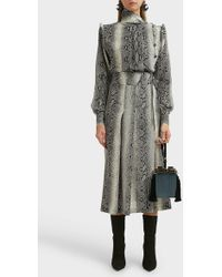 Alessandra Rich Python-print Silk Dress - Gray