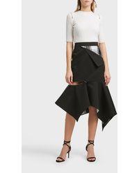 Monse Asymmetric Plaid-paneled Skirt - Black