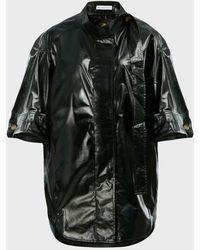 Rejina Pyo Briana Collared Coated Satin Shirt - Black
