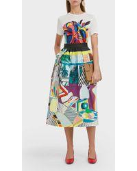 Mary Katrantzou Pleated Printed Stretch-cotton-poplin Midi Skirt Blue