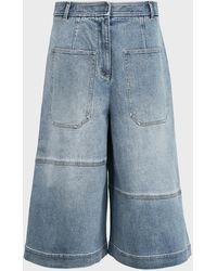 Tibi Knee-length Denim Cargo Shorts - Blue