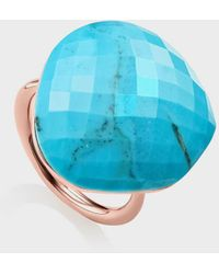 Monica Vinader Turquoise And 18k Rose Gold Vermeil Nura Large Pebble Ring - Blue