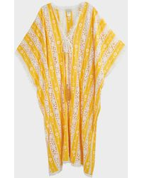 Miguelina Blair Lace-panelled Kaftan - Yellow