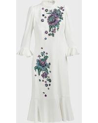 Andrew Gn Floral-embellished Crepe Midi Dress - Multicolour