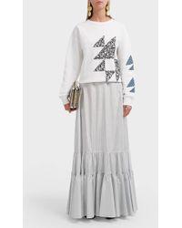 CALVIN KLEIN 205W39NYC Pinstripe Silk Maxi Skirt - Gray