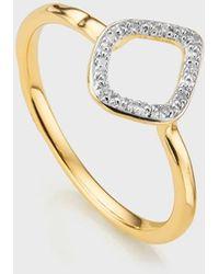 Monica Vinader Diamond And 18k Yellow Gold Riva Mini Kite Stacking Ring - Metallic