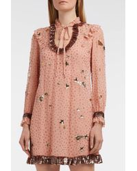 COACH - Sequin-embellished Printed Georgette Dress, Us4 - Lyst