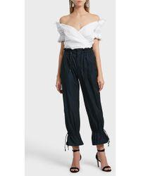 Jonathan Simkhai - Ruched Taffeta Trousers, Size Us2, Women, Navy - Lyst