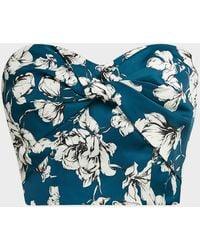 AMUR Ona Floral-patterned Crepe De Chine Strapless Top - Blue
