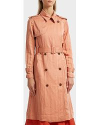 10 Crosby Derek Lam - Belted Trench Coat, Size Us2, Women, Pink - Lyst