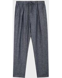 120% Lino Drawstring-waist Linen Pants - Blue