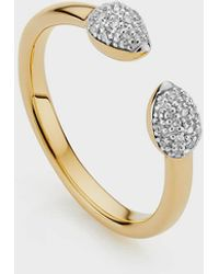 Monica Vinader Diamond And 18k Yellow Gold Fiji Bud Stacking Ring - Metallic