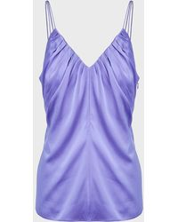 Helmut Lang Ruched Silk-satin Camisole Top - Purple