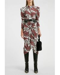 Isabel Marant Tizy Paisley Print Silk High Neck Dress - Multicolour