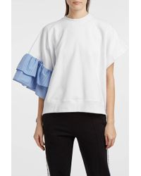 MSGM - Ruffle-trimmed Cotton Sweatshirt, Size Xs, Women, White - Lyst