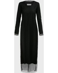 Marques'Almeida Net Overlay Long Sleeve Dress - Black