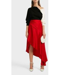 Monse Asymmetric Satin Midi Skirt - Red