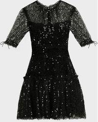 Jonathan Simkhai Sequinned Lace Mini Dress - Black