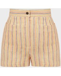 Three Graces London Osmo Striped Linen Shorts - Natural